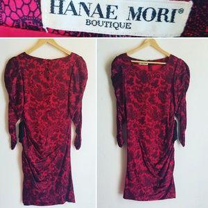 Vintage Hanae Mori Long sleeve Red & Black Dress